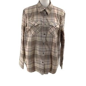 Chaps Plaid Western Style L/S Button Down Top 1X